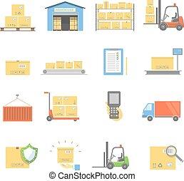 plat, set, vervoer, iconen, vrijstaand, illustratie, aflevering, vector, magazijn