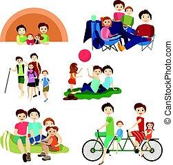 plat, set, wandelende, familie kampeerterrein, iconen, vector, karakters