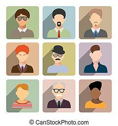 plat,  Set, zakelijk, iconen, beweeglijk, Toepassing, Vrijstaand,  web, achtergrond,  avatars, witte,  man