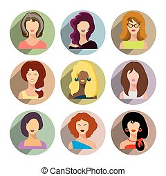 plat,  Set, zakelijk, iconen, beweeglijk, Toepassing, Vrijstaand,  web, achtergrond,  avatars, witte, vrouwen