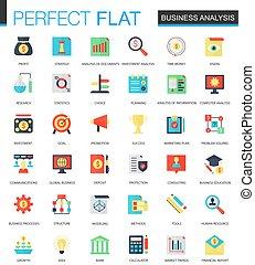 plat, set, zakelijk, icons., analytics, vector