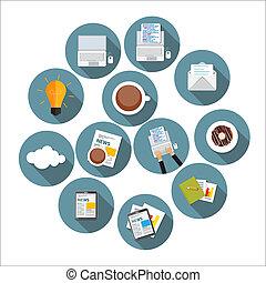 plat, set, zakelijk, moderne, illustratio, ontwerp, jouw, pictogram