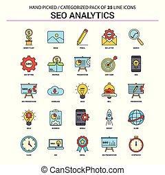 plat, set, zakenbeelden, -, analytics, conceptontwikkeling, seo, lijn, pictogram
