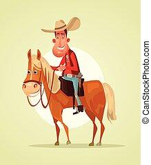 plat, sheriff, cowboy, rijden, karakter, illustratie, horse., vector, het glimlachen, spotprent, vrolijke