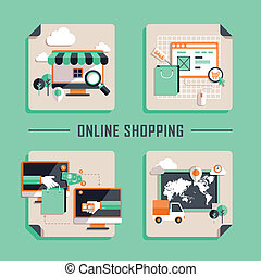 plat, shoppen , iconen, vector, ontwerp, online