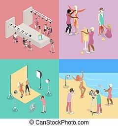 plat, show., mode, photographe, isométrique, illustration, vecteur, photo, modèle, tir, plage, session., studio., 3d