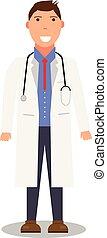 plat, sien, autour de, docteur, neck., manteau, monde médical, vecteur, stéthoscope, worker., médecine, portrait, blanc, concept., design.