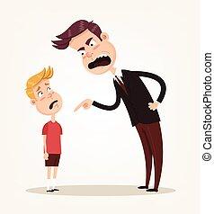 plat, sien, réprimande, caractère, fâché, père, illustration, triste, vecteur, malheureux, son., dessin animé