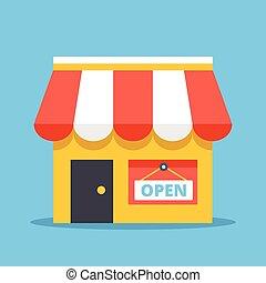 plat, signe., conception, magasin, ouvert