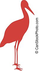 plat, silhouette, cigogne, vecteur, animal, oiseau sauvage