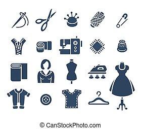 plat, silhouette, icônes, couture, vecteur, outils