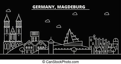 plat, silhouette, linéaire, ville, illustration, allemand, architecture, -, landmarks., bâtiments., vecteur, allemagne, magdeburg, icône, skyline., ligne, bannière, voyage, contour