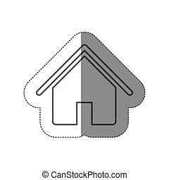 plat, silhouette, maison, autocollant, conception, icône