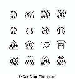plat, silhouette, reussite, icones affaires, set., vecteur, conception, collaboration équipe, ligne, concept.