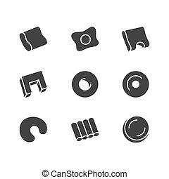 plat, silhouette, solide, literie, chambre à coucher, icons., confortable, équipement, orthopédique, vecteur, sommeil, lin, signes, intérieur, oreiller, glyph, magasin, illustrations.