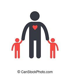 plat, silhouette, twee, pictogram, kinderen, man