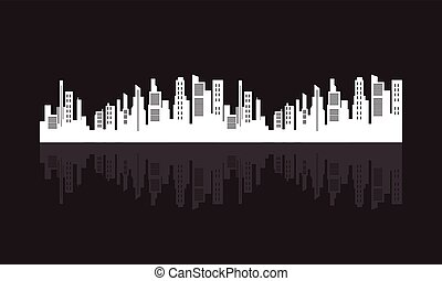 plat, silhouette, vecteur, conception, ville