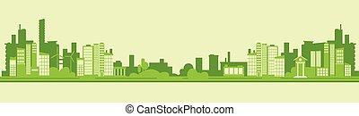plat, silhouette, ville, eco, vecteur, vert