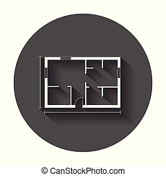 plat, simple, maison, illustration, vecteur, long, icon., shadow., plan