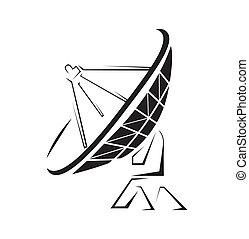 plat, simple, satellite, symbole
