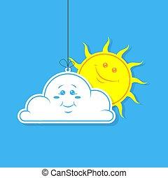plat, simple, soleil, illustration, vecteur, blanc, dessin animé, nuage