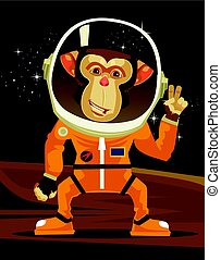 plat, singe, illustration espace, suit., vecteur, astronaute, sourire, dessin animé, heureux