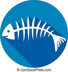 plat, skeleton), fish, (fish, os, icône
