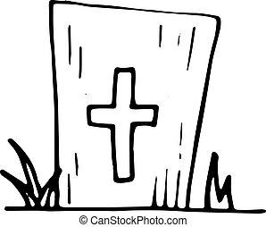 plat, sketch., isolated., griffonnage, symbole., illustration, main, décoration, arrière-plan., vecteur, noir, tombe, handdrawn, dessiné, icon., signe, blanc, element., design.