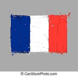 plat, slagen, -, frans vlag, borstel, plonsen, artistiek