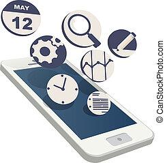 plat, smartphone, 3d, nuage, icônes