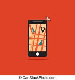 plat, smartphone, concept, moderne, illustration, vecteur, conception, gps