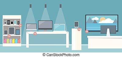 plat, smartphone, conception, vente, magasin