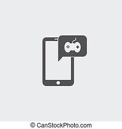 plat, smartphone, eps10, illustration, color., vecteur, conception, noir, manche balai, icône