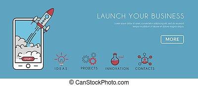 plat, smartphone, fusée, business, haut, illustration, début, action., appeler, launcing