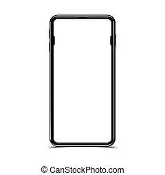 plat, smartphone, maquette, réaliste, eps, illustration, arrière-plan., vecteur, noir, blanc, 10