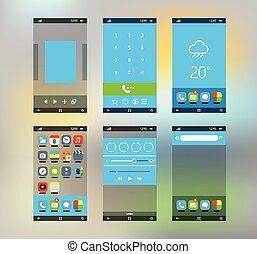 plat, smartphone, materiaal, moderne, schermen, ontwerp, ...