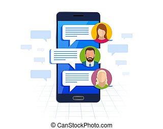 plat, smartphone, service, messages, concept., sms, illustration, court, bubbles., vecteur, parole, chating, messagerie, message