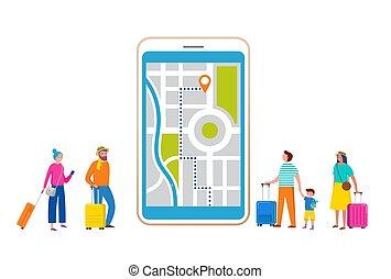 plat, smartphone, touristes, gens, moderne, scène, illustration, voyage, miniature, vecteur, aventure, style., tourisme