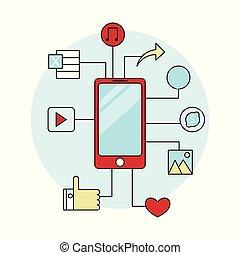plat, smartphone, vecteur, conception, icône