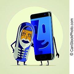 plat, smartphone, zijn, oud, kleinzoon, moderne, grandfather., telefoon, vector, illustratie, omhelzingen, spotprent
