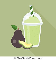 plat, smoothie, avocado, lang, plastic, ontwerp, glas, schaduw, stuk