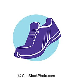 plat, sneaker, rennende , vector, schoen, sportende, pictogram