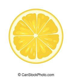 plat, snede, citroen, kleur, illustratie, achtergrond., witte , ronde