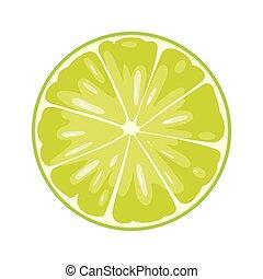 plat, snede, kleur, illustratie, achtergrond., witte , ronde, kalk