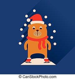 plat, sneeuw, lang, beer, schaduw, pictogram