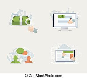 plat, sociaal, m, advertentie, web