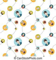 plat, sociaal, seamless, netwerk, model