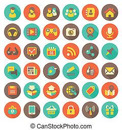 plat, social, gestion réseau, rond, icônes