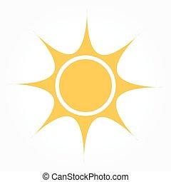 plat, soleil, conception, icône