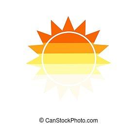 plat, soleil, conception, icon.